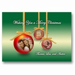 Christmas Ornament Green Holiday Photo Card