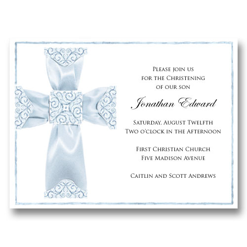 Blue Ribbon Cross Baptism Communion Invitations