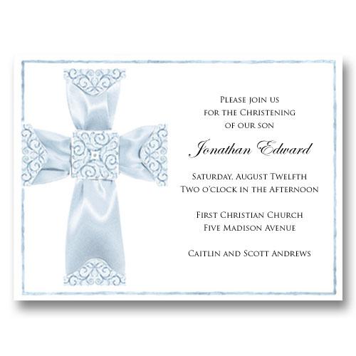 Blue Ribbon Cross Baptism Communion Invitations