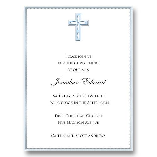 Blue Cross Embossed Baptism Communion Invitations