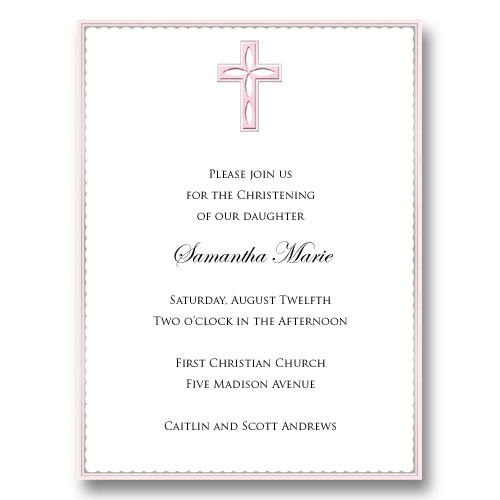 Pink Cross Embossed Baptism Communion Invitations