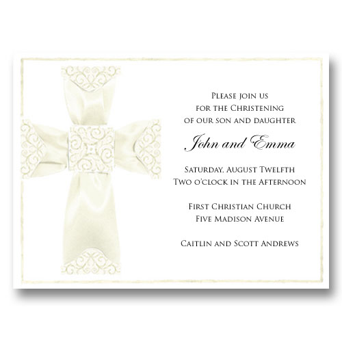 Ivory Ribbon Cross Baptism Communion Invitations