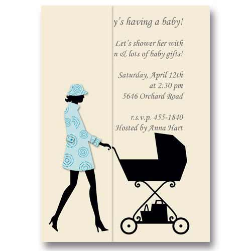 Woman Baby Carriage Baby Shower Invitations