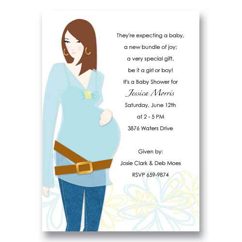 Blue Expecting Woman Baby Shower Invitations