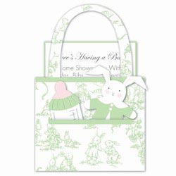 Green Baby Toile Purse Baby Shower Invitations