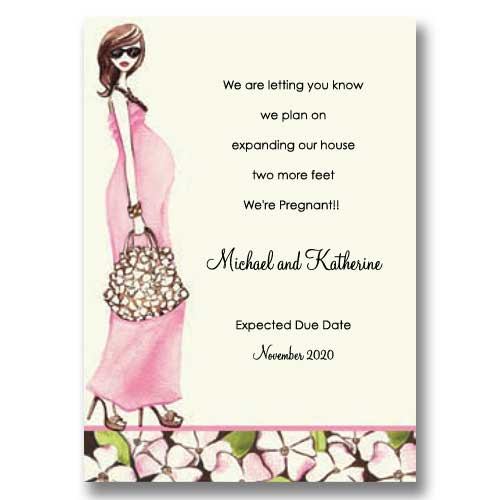 Fashionable Mom Pink Pregnancy Announcements