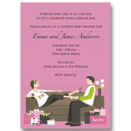 trendy pink couples baby shower invitations