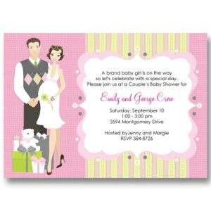 Pink Perfect Couple Baby Shower Invitations