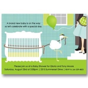 Crib Stork Baby Shower Invitations