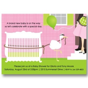 Pink Crib Stork Baby Shower Invitations