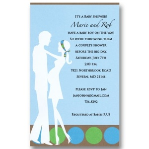 Blue Expecting Couples Baby Shower Invitations