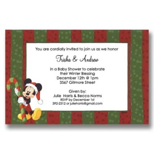 Mickey Candy Christmas Baby Shower Invitations