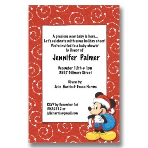 Santa Mickey Christmas Baby Shower Invitations