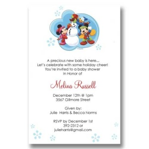 Mickey Friends Snowman Baby Shower Invitations