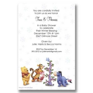 Pooh Friends Christmas Baby Shower Invitations