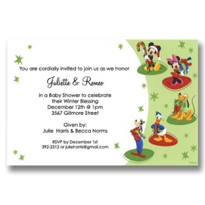 Mickey Friends Christmas Baby Shower Invitations
