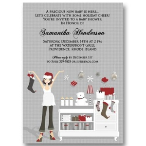 Christmas Baby Dresser Baby Shower Invitations