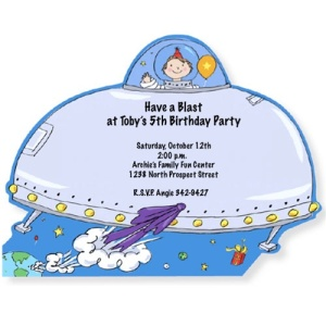 Blast Off Spaceship Birthday Invitations