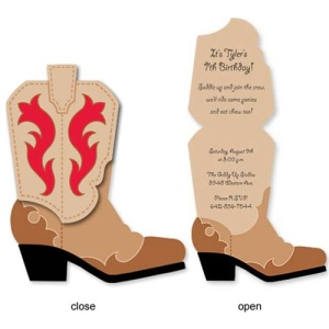 Cowboy Boot Birthday Invitations