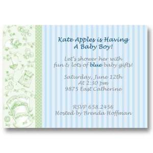 Baby Boy Toile Baby Shower Invitations