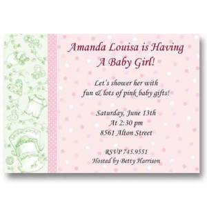 Baby Girl Toile Baby Shower Invitations