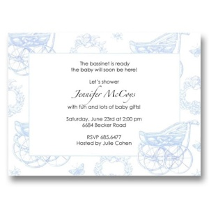 Carriage Blue Toile Baby Shower Invitations