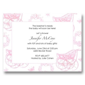 Carriage Pink Toile Baby Shower Invitations