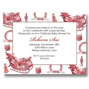 Toile Christmas Baby Shower Invitations