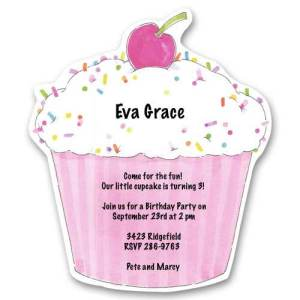 Pink Cupcake Sprinkles Baby Birthday Invitations