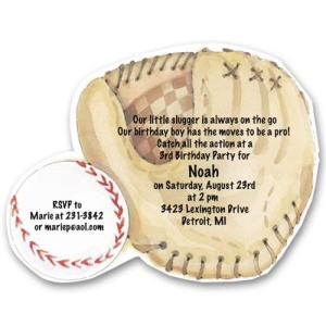 Baseball Mitt Birthday Invitations