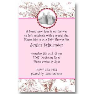 Baby Feet Toile Girl Baby Shower Invitations