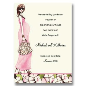 Fashionable Mom Pink Pregnancy Announcement