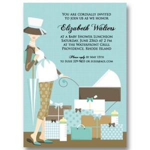 Blue Baby Carriage Baby Shower Invitations