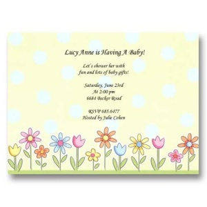 Flowers in Row Baby Shower Invitations