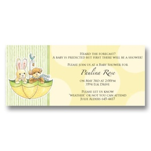 Umbrella Stuffed Animals Baby Shower Invitations