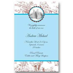 Baby Feet Toile Boy Birth Announcements