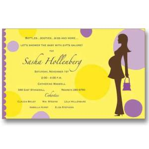 Yellow Dots Expecting Baby Shower Invitations