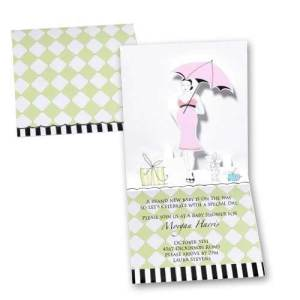 Popup Pink Umbrella Baby Shower Invitations