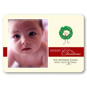 Christmas Wreath Cream Baby Holiday Photo Cards