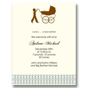 Big Brother Carriage Boy Birth Announcements