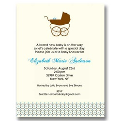 Boy Baby Carriage Baby Shower Invitations