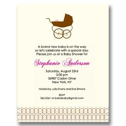 Girl Baby Carriage Baby Shower Invitations