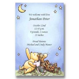 Disney Pooh Piglet Tigger Stars Baby Birth Announcements