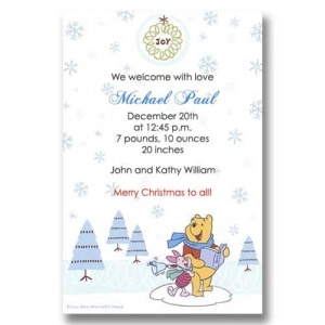 Pooh Piglet Joy Christmas Birth Announcements