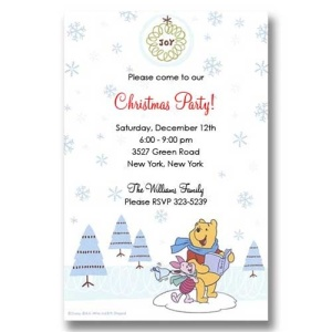 Disney Pooh Piglet Joy Christmas Invitations