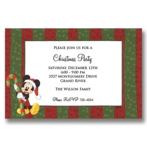 Mickey Candy Cane Christmas Invitations