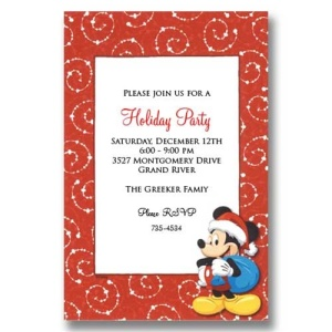 Santa Mickey Christmas Invitations