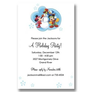 Mickey Friends Snowman Winter Invitations