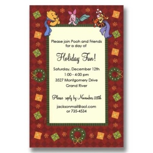 Pooh Piglet Tigger Wreath Christmas Invitations