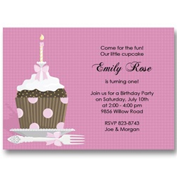 Pink Polka Dot Cupcake Birthday Invitations
